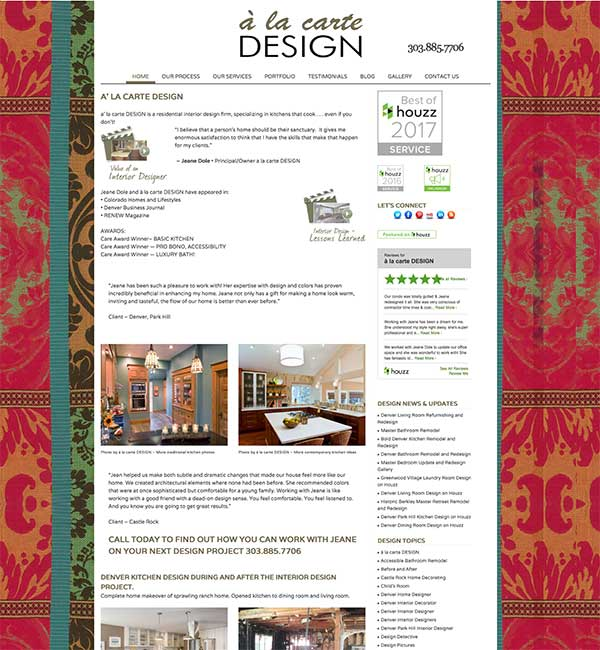 interior designer website redesign